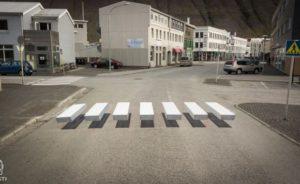 Photos, Video: 3D crosswalk in Ísafjörður helps slow down speeding motorists | Icelandmag